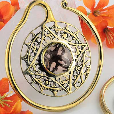 Solid Brass Aether Puj Ju Hoops with Smokey Quartz
