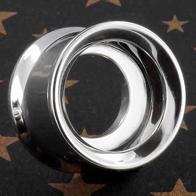 Steel eyelet with silver crescent moon