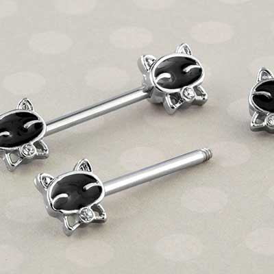 Black bow tie cat nipple barbell