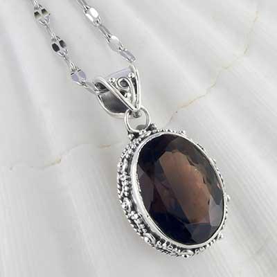 Smokey quartz and silver necklace