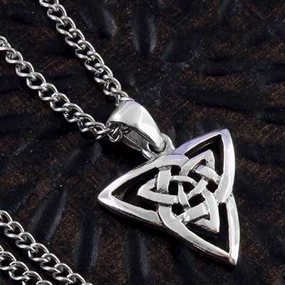 Silver trinity eternity knot necklace