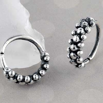 Silver Paved Pebble Seamless Ring