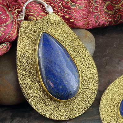 Distressed Brass Solstice Moon Design with Lapis