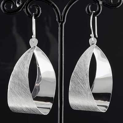 Silver Textured Blade Loop Earrings