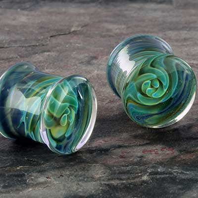 Glass squid spiral plugs