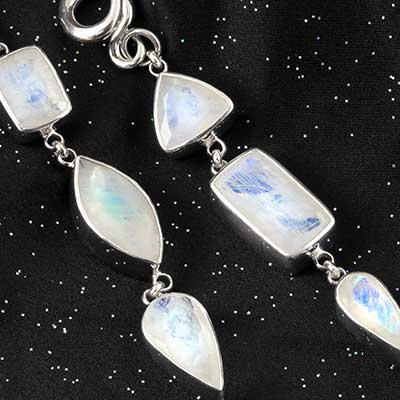Silver geometric rainbow moonstone weights