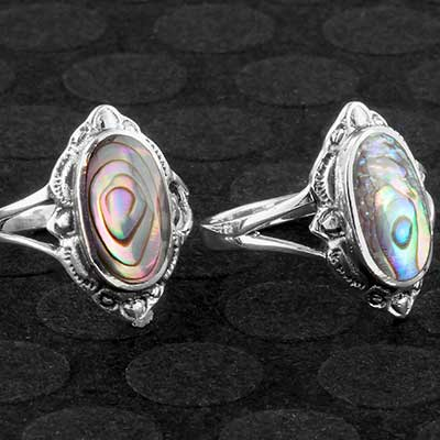 Silver ornate Abalone shell ring