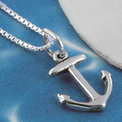 Silver petite anchor necklace