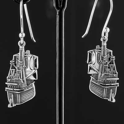 Silver Spanish Galleon Earrings