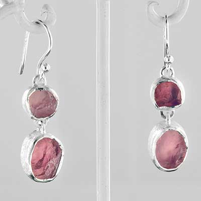 Silver tripple rose quartz earrings