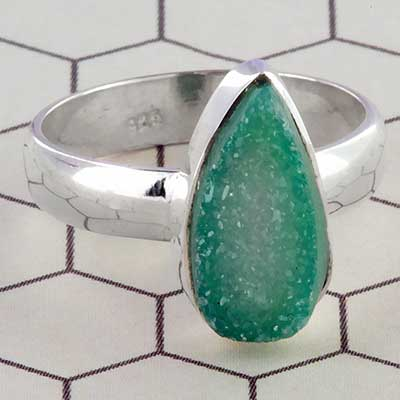 Silver and green druzy ring