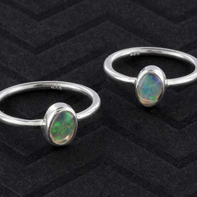 Silver and Ethiopain opal ring