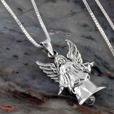 Silver angel bell necklace