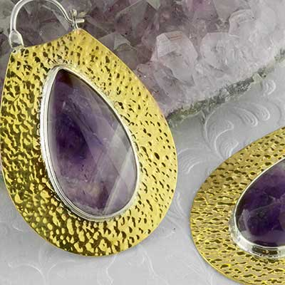 Hammered brass Solstice moon design with amethyst