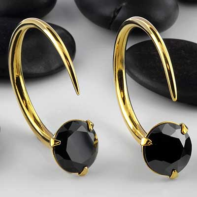 Solid brass Tsabit design with faceted black glass