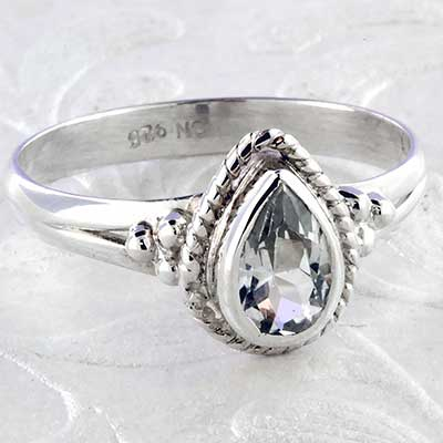 Silver ornate CZ ring