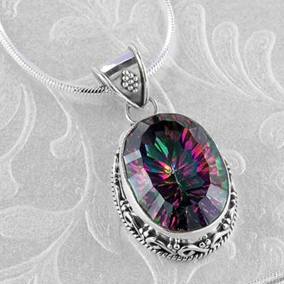 Mystic topaz and silver necklace