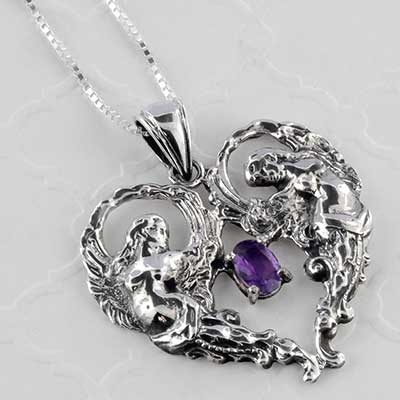 Silver angles and amethyst necklace
