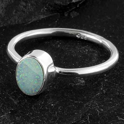 Silver and Australian opal ring
