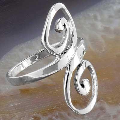 Silver swirl ring