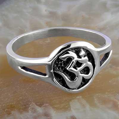 Silver circle ohm ring