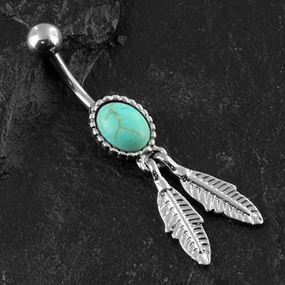 Synthetic tuquoise feather navel