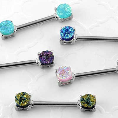 Synthetic Druzy Nipple Barbell