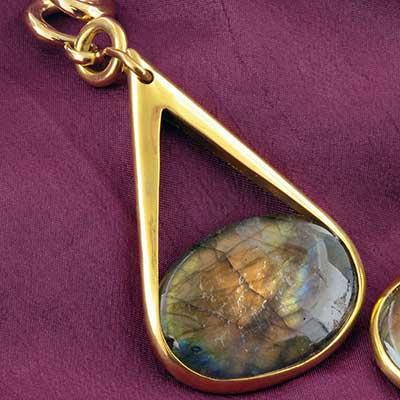Solid brass and labradorite pendulum dangles