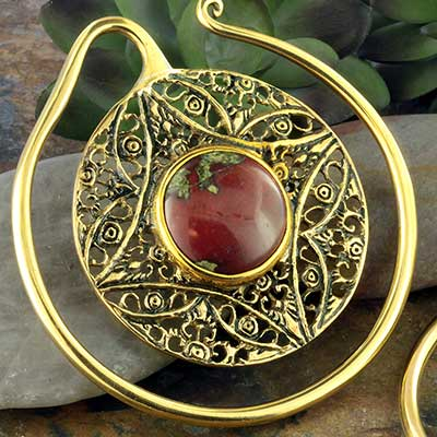 Solid brass Aether Puj Ju hoops with dragon's blood jasper