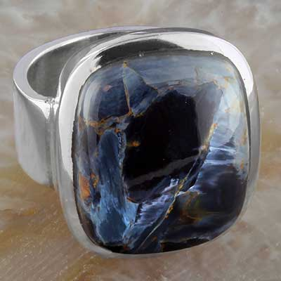 Silver and pietersite ring