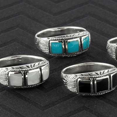 Silver ornate trio band ring