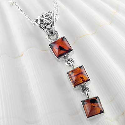 Trio amber and silver necklace