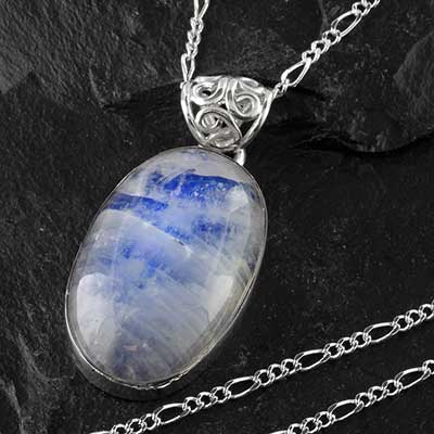 Blue moonstone and silver necklace