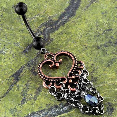 Vintage Copper Heart Navel