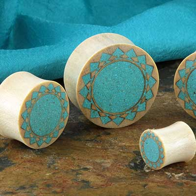 Crocodile wood plug with turquoise mandala