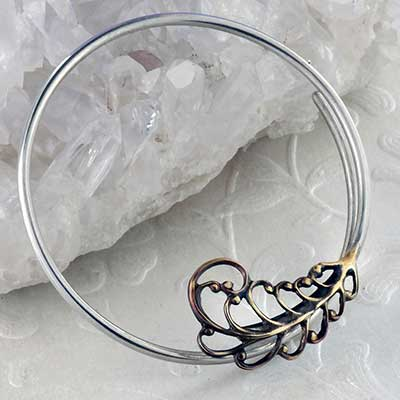 Silver and Brass Flourish Hoops