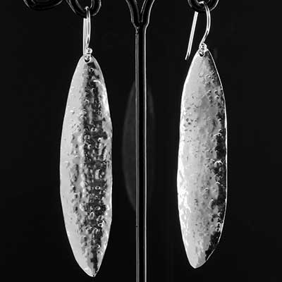 Silver dimpled blade earrings