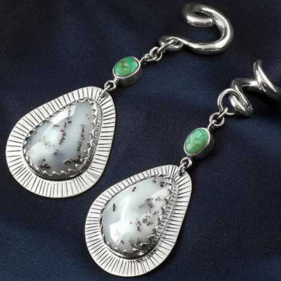 Silver and Dendritic Agate Dangle Weights