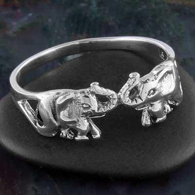 Silver elephant love ring