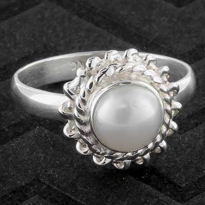 Silver and Pearl Burst Ring