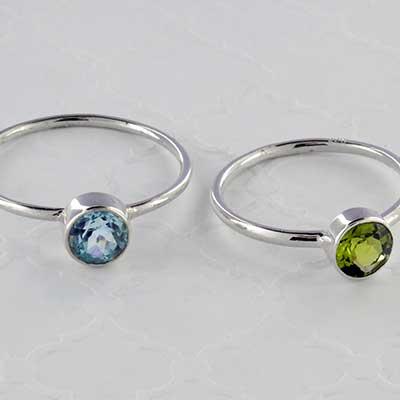 Silver and genuine gemstone ring