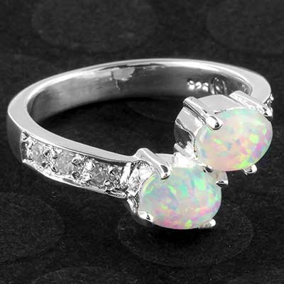 Silver and synthetic opal ring