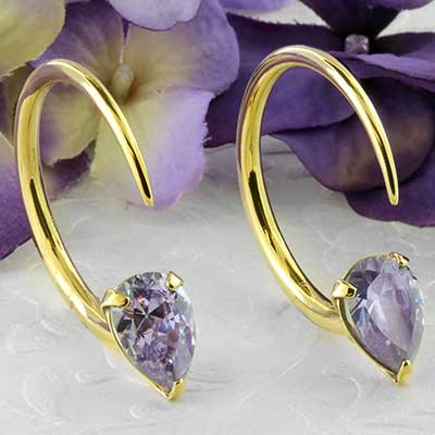 Solid brass tiny Tsabit design with faceted purple glass