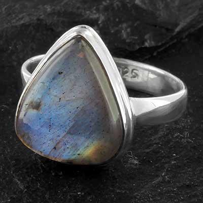Silver and labradorite ring
