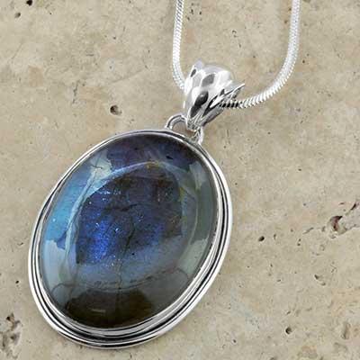 Labradorite and silver necklace