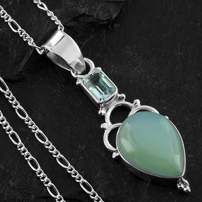 Chalcedony and silver necklace