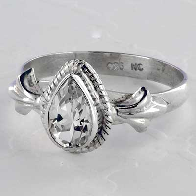 Silver and quartz ring