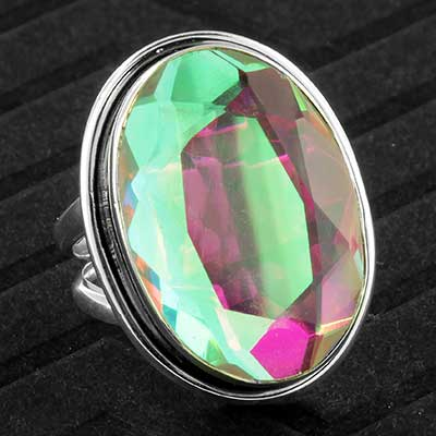 Silver and pink AB gemstone ring
