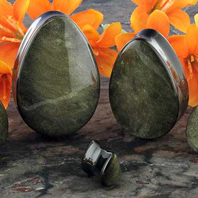 Golden obsidian teardrop plugs