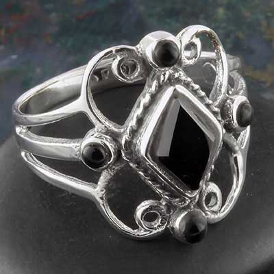 Silver embellished black onyx ring
